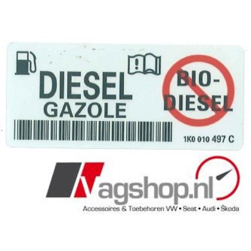 Audi/VW/Seat/Skoda sticker voor bij te vullen brandstof DIESEL